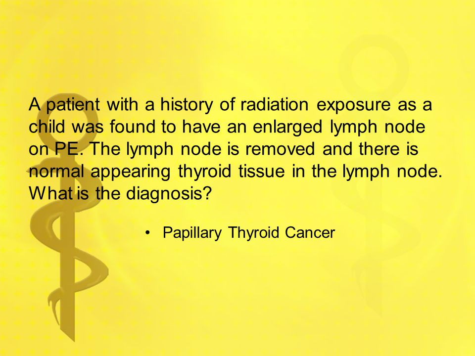 A patient with a history of radiation exposure as a child was found to have an enlarged lymph node on PE. The lymph node is removed and there is normal appearing thyroid tissue in the lymph node. What is the diagnosis