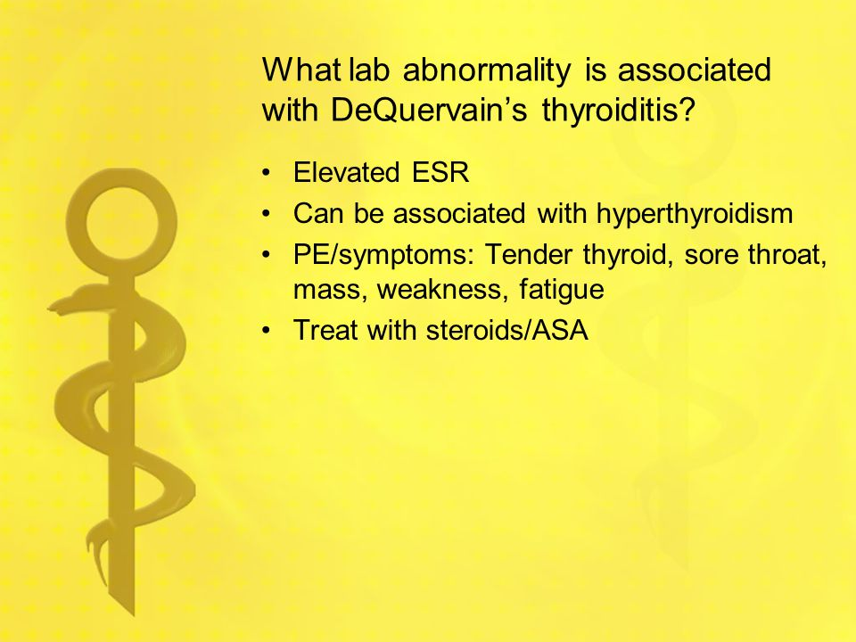 What lab abnormality is associated with DeQuervain's thyroiditis