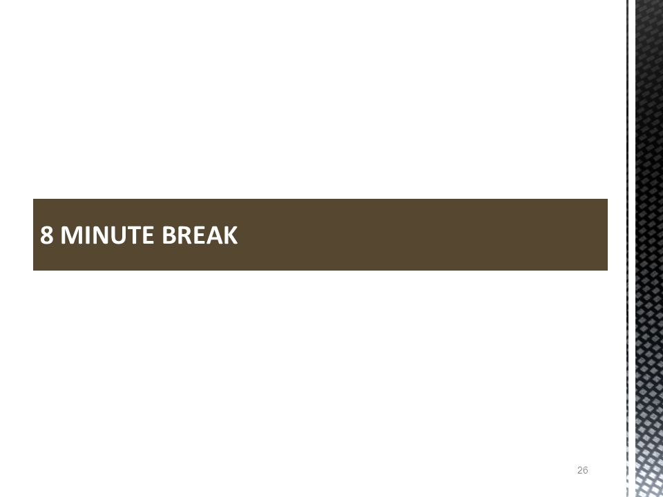 8 MINUTE BREAK