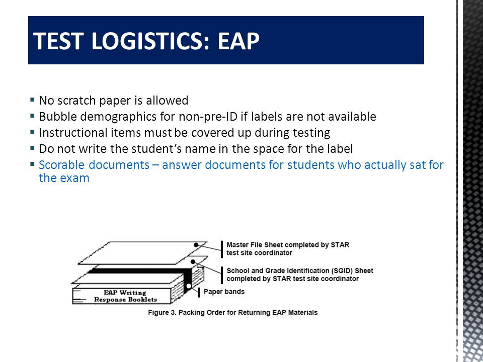 TEST LOGISTICS: EAP No scratch paper is allowed