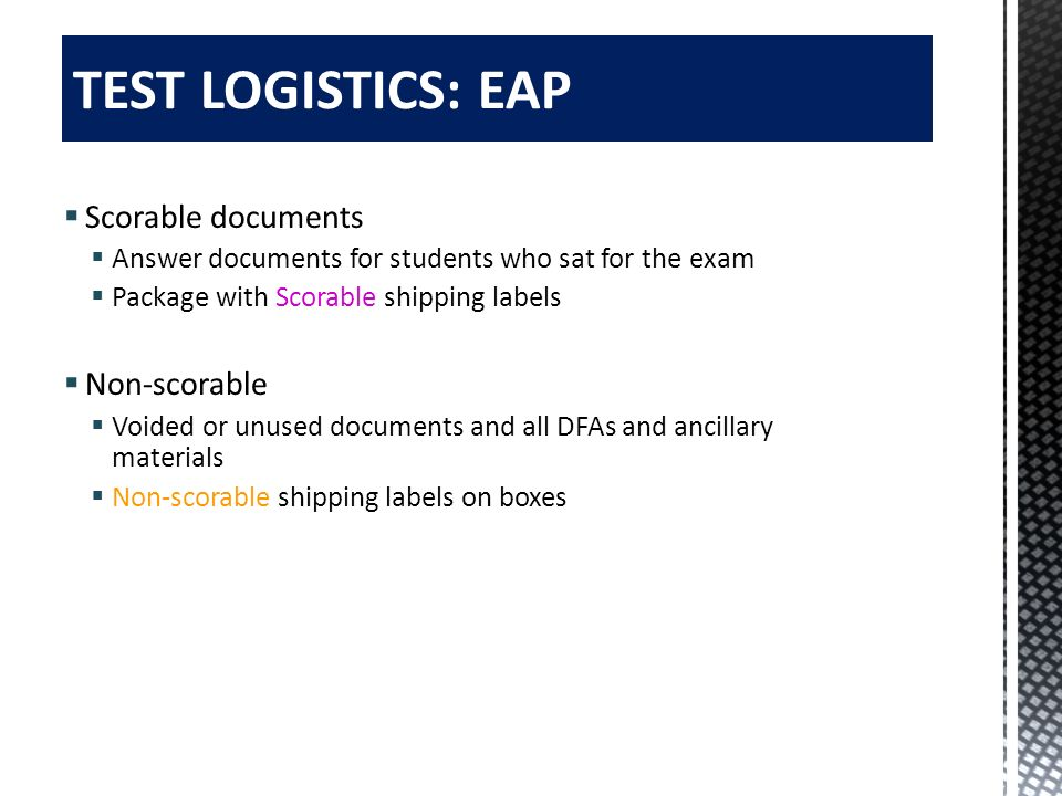 TEST LOGISTICS: EAP Scorable documents Non-scorable