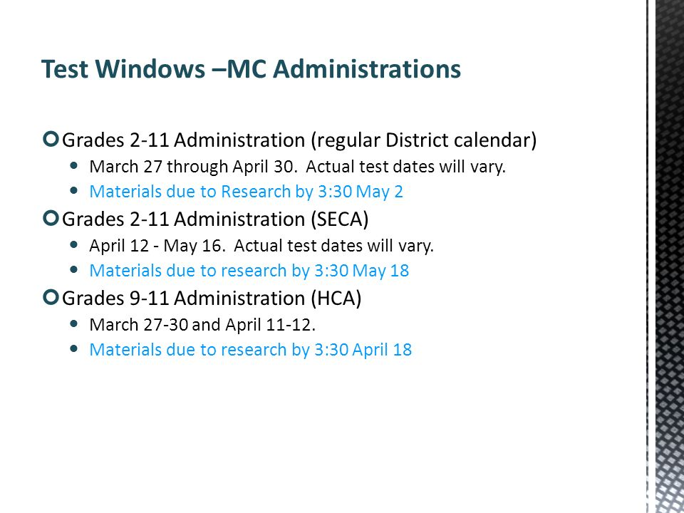Test Windows –MC Administrations