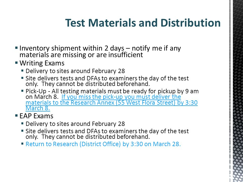 Test Materials and Distribution