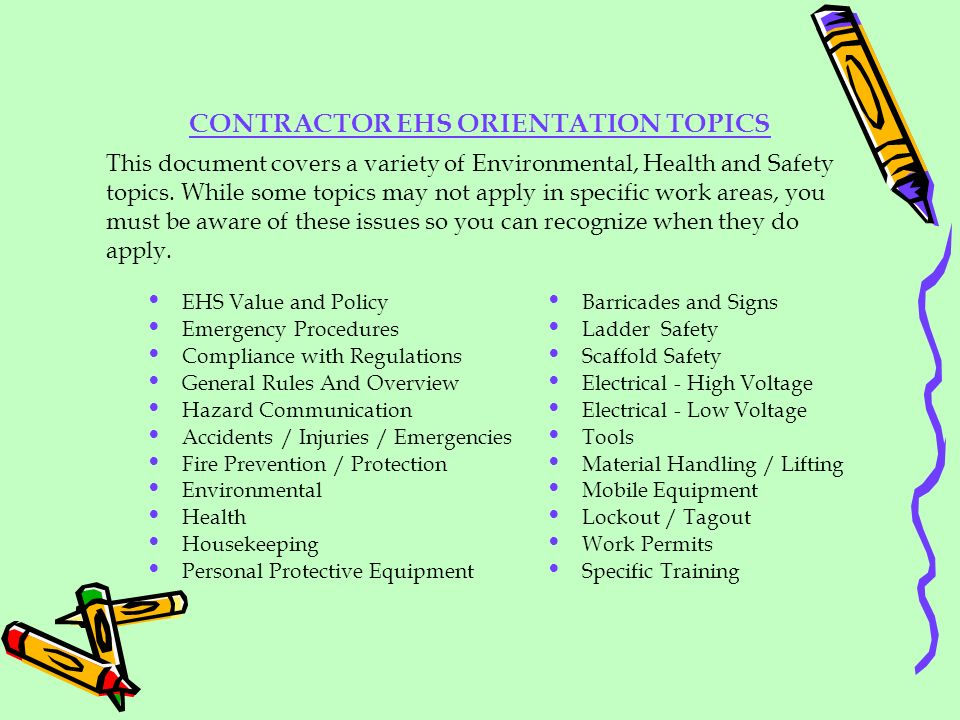 CONTRACTOR EHS ORIENTATION TOPICS