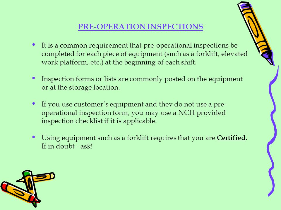 PRE-OPERATION INSPECTIONS