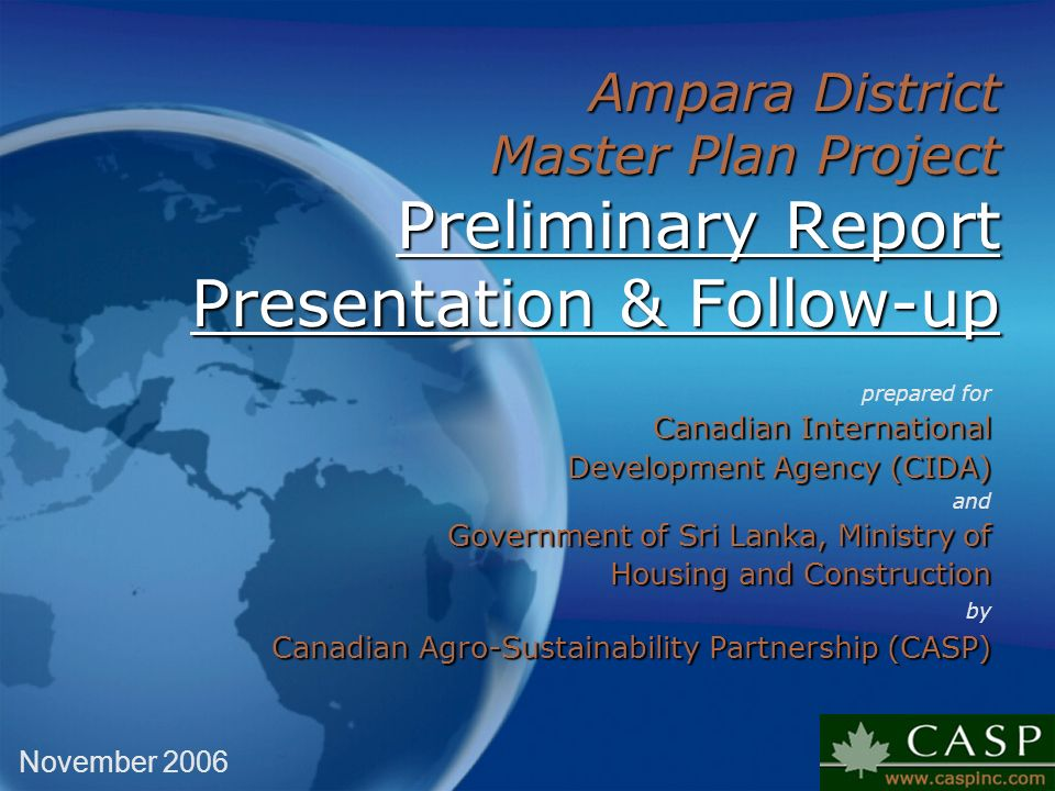 Ampara District Master Plan Project Preliminary Report Presentation & Follow-up