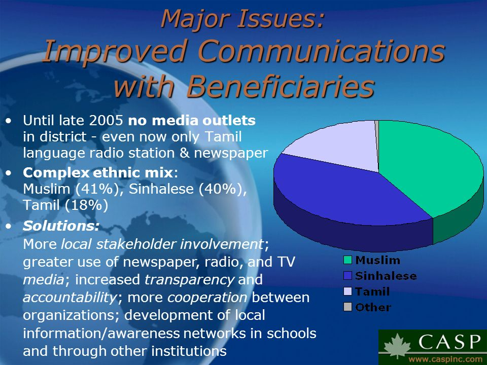 Major Issues: Improved Communications with Beneficiaries