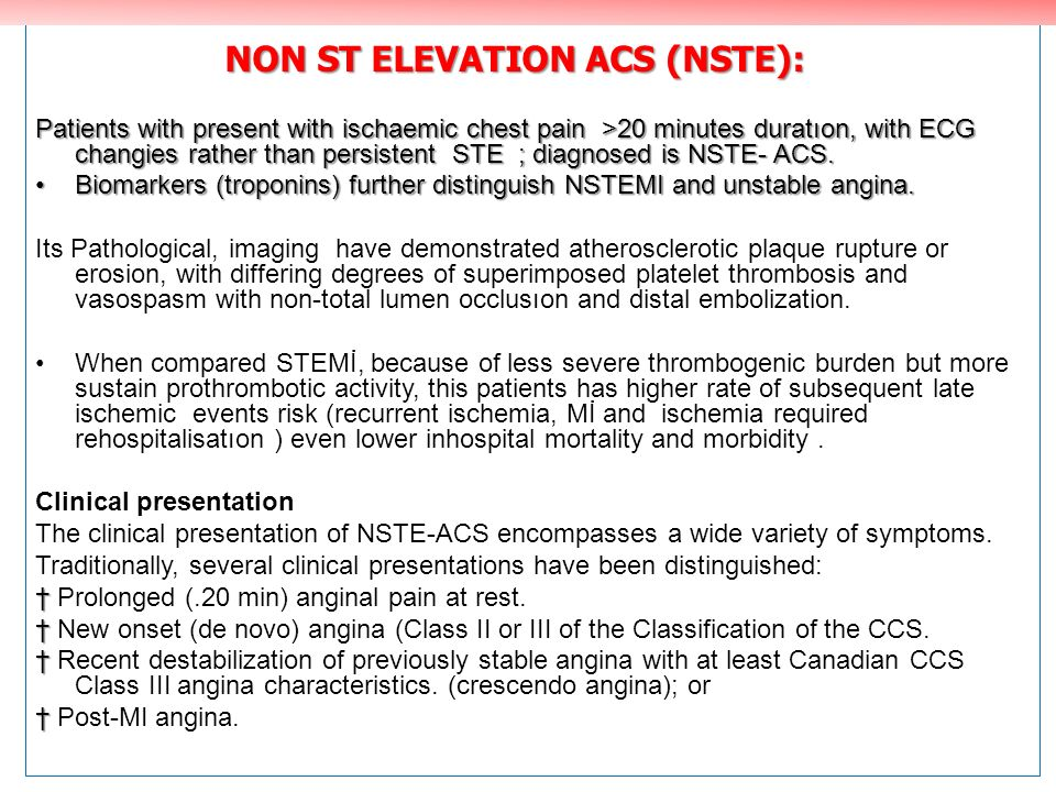 NON ST ELEVATION ACS (NSTE):