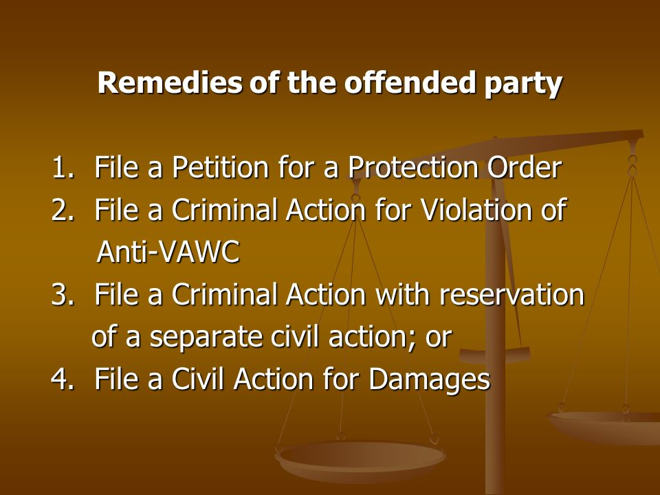 Remedies of the offended party