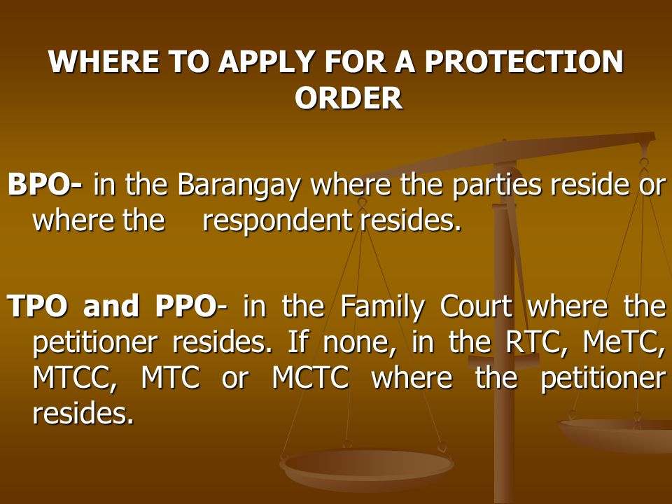 WHERE TO APPLY FOR A PROTECTION ORDER