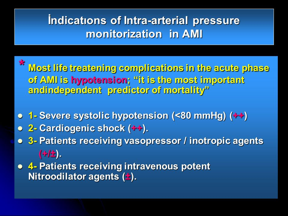 İndicatıons of Intra-arterial pressure monitorization in AMI