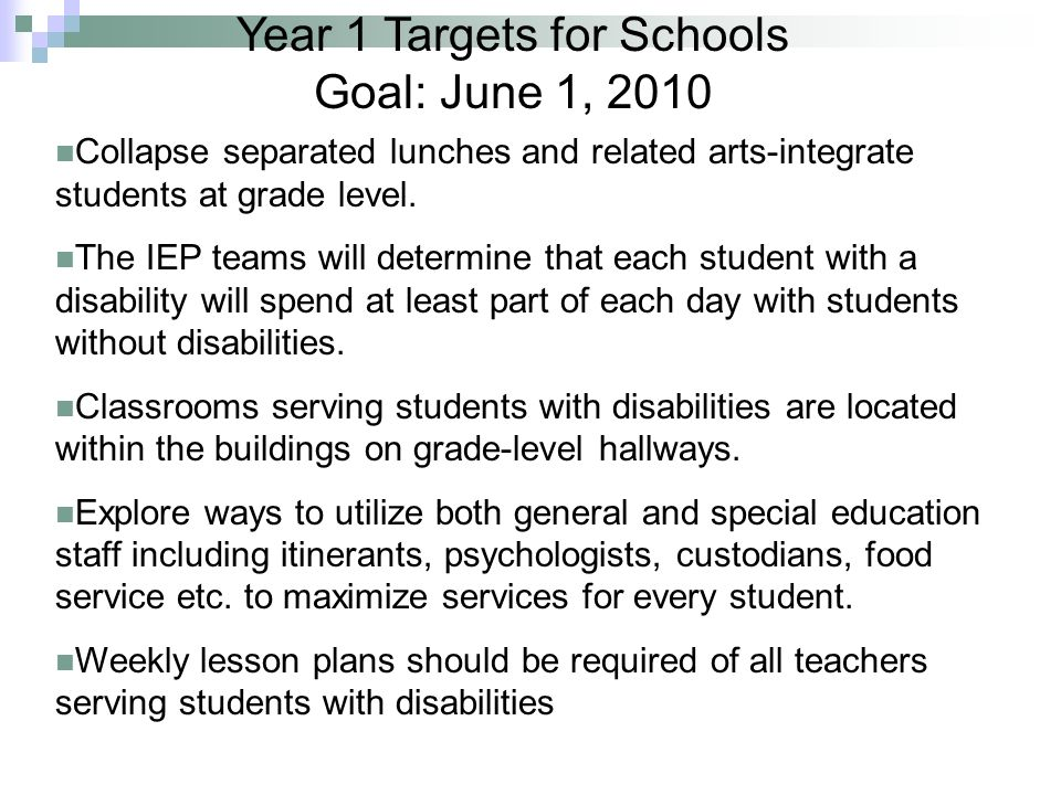 Year 1 Targets for Schools Goal: June 1, 2010