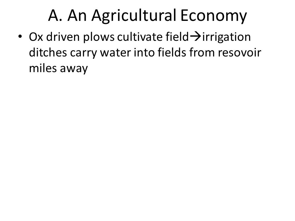 A. An Agricultural Economy