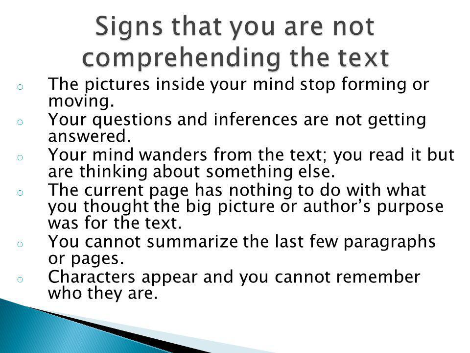 Signs that you are not comprehending the text