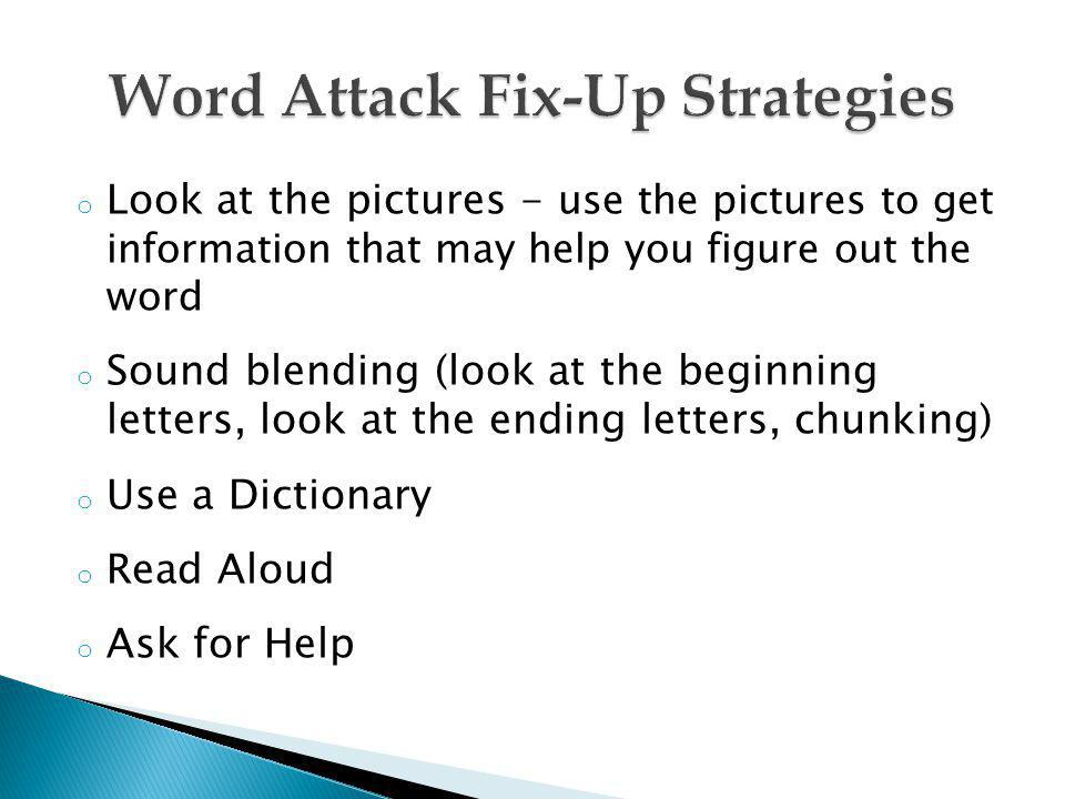 Word Attack Fix-Up Strategies