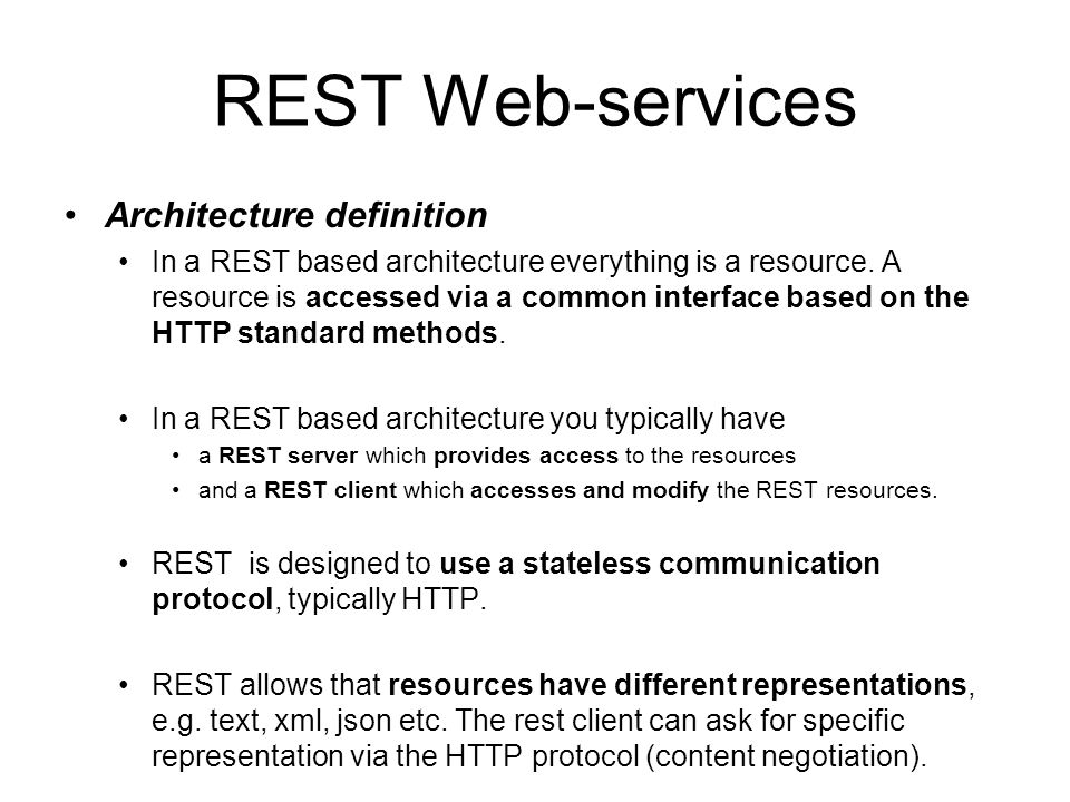 REST Web-services Architecture definition