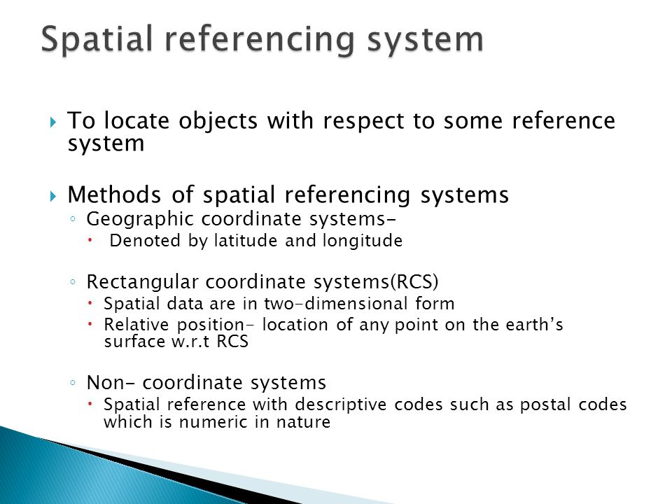 Spatial referencing system