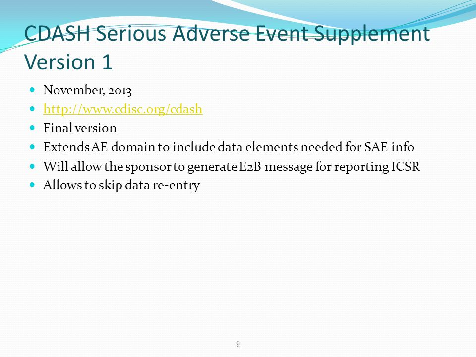 CDASH Serious Adverse Event Supplement Version 1