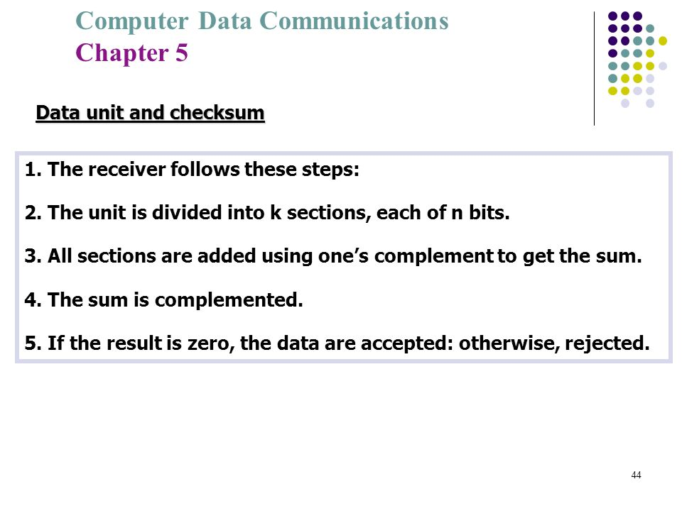 Data unit and checksum 1. The receiver follows these steps: 2. The unit is divided into k sections, each of n bits.