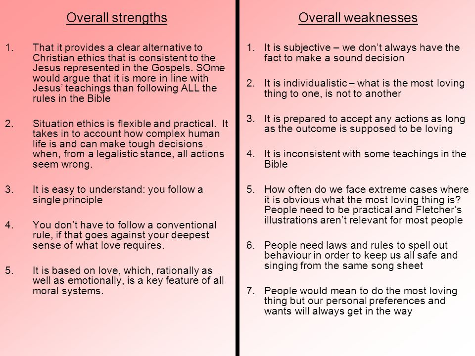 Overall strengths Overall weaknesses