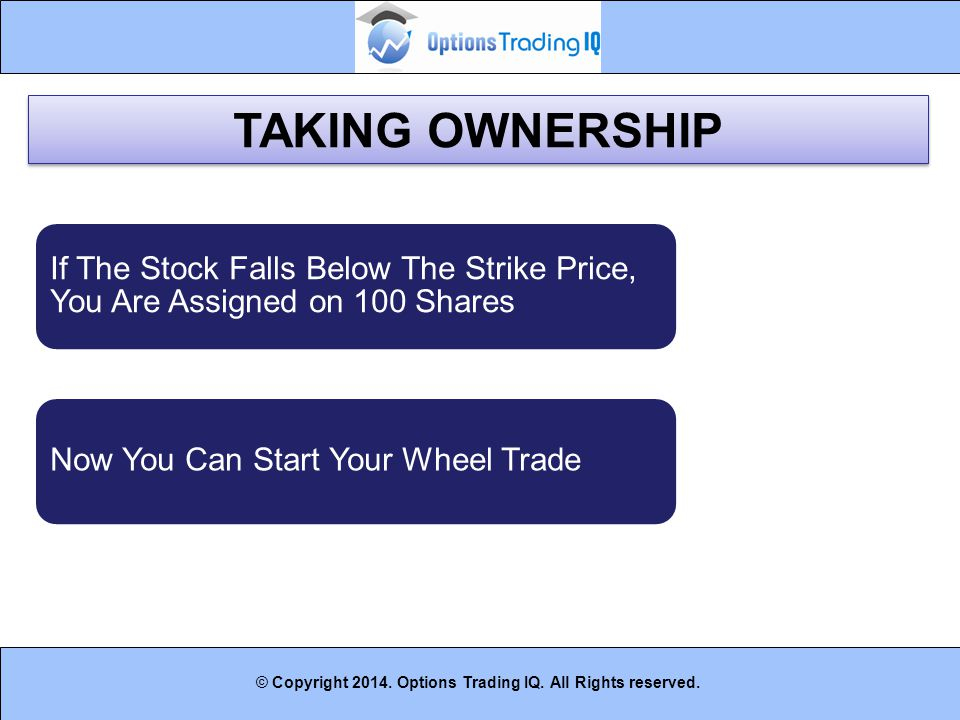 TAKING OWNERSHIP If The Stock Falls Below The Strike Price, You Are Assigned on 100 Shares. Now You Can Start Your Wheel Trade.