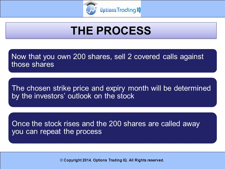 THE PROCESS Now that you own 200 shares, sell 2 covered calls against those shares.