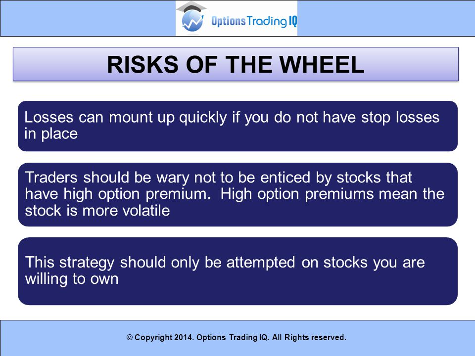 RISKS OF THE WHEEL Losses can mount up quickly if you do not have stop losses in place.