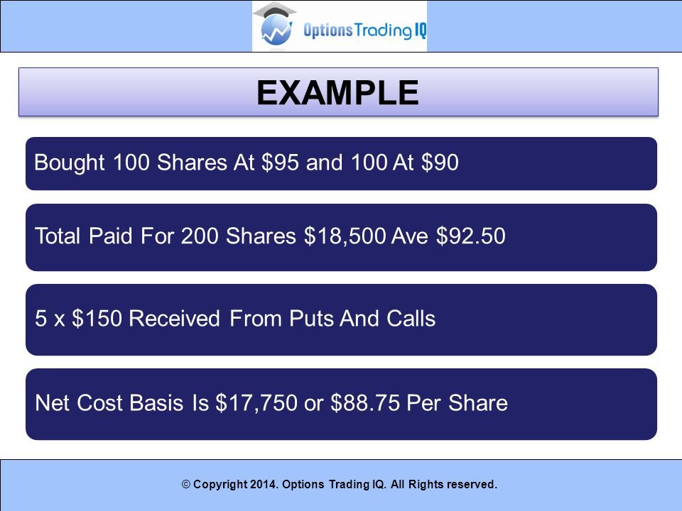 EXAMPLE Bought 100 Shares At $95 and 100 At $90