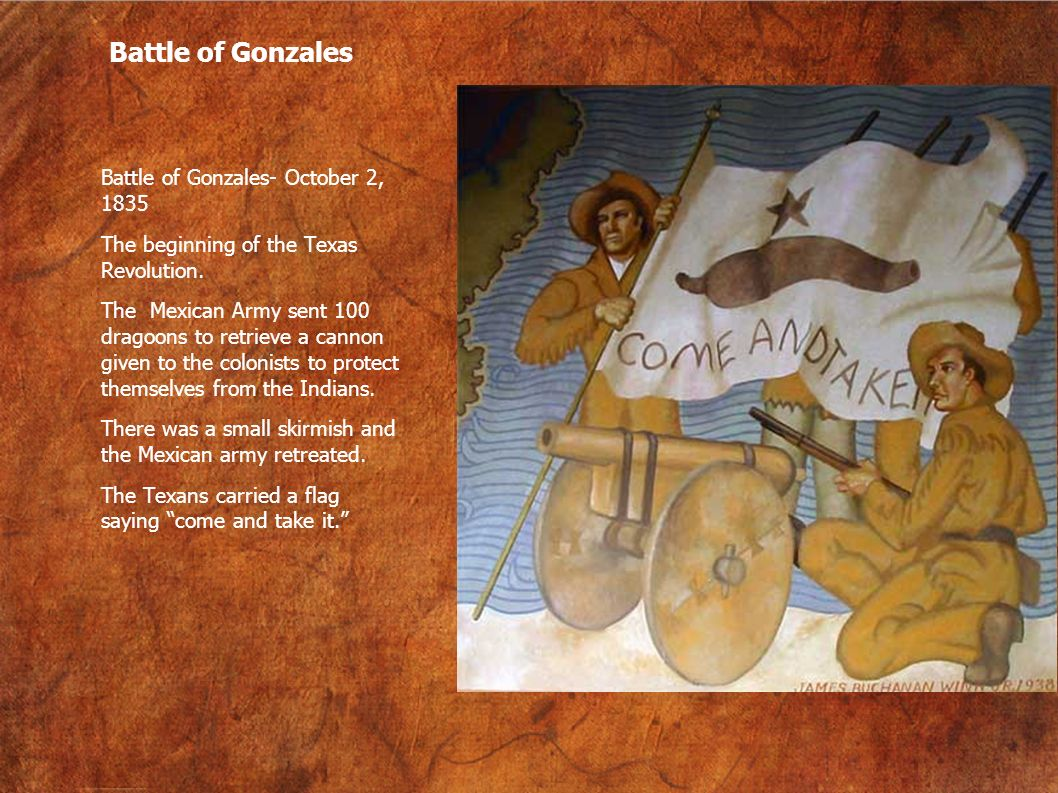 Battle of Gonzales Battle of Gonzales- October 2, 1835