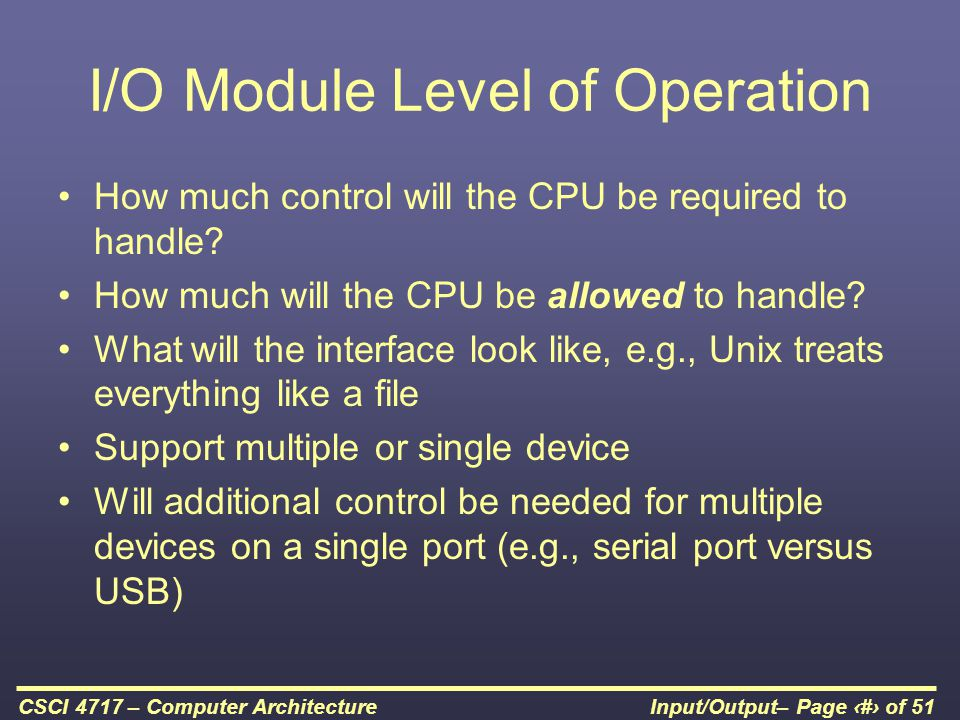 I/O Module Level of Operation