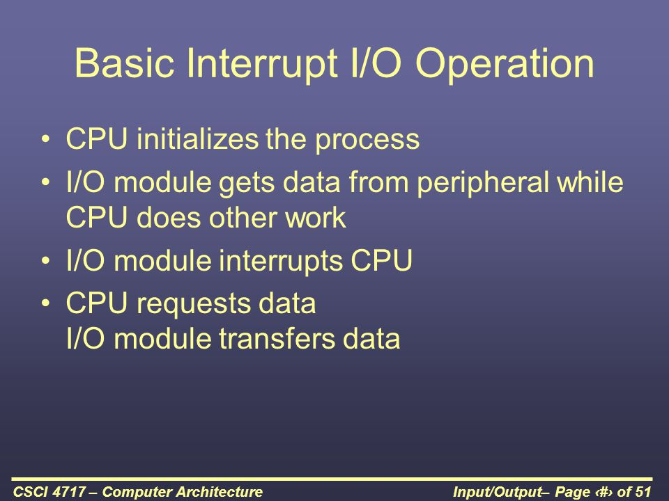 Basic Interrupt I/O Operation