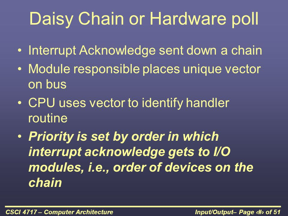 Daisy Chain or Hardware poll