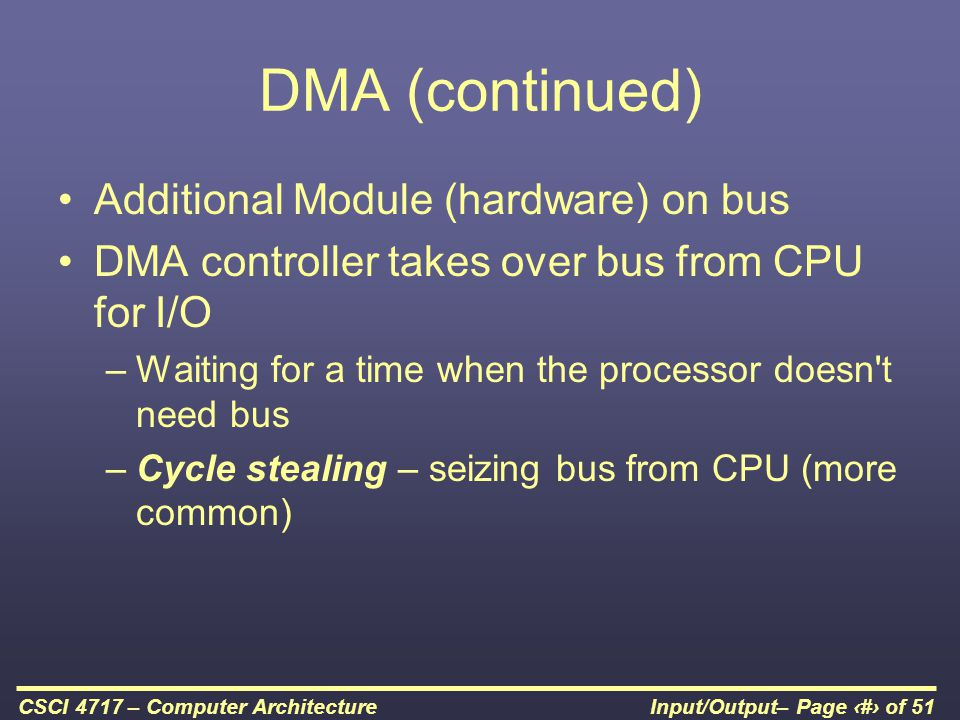 DMA (continued) Additional Module (hardware) on bus