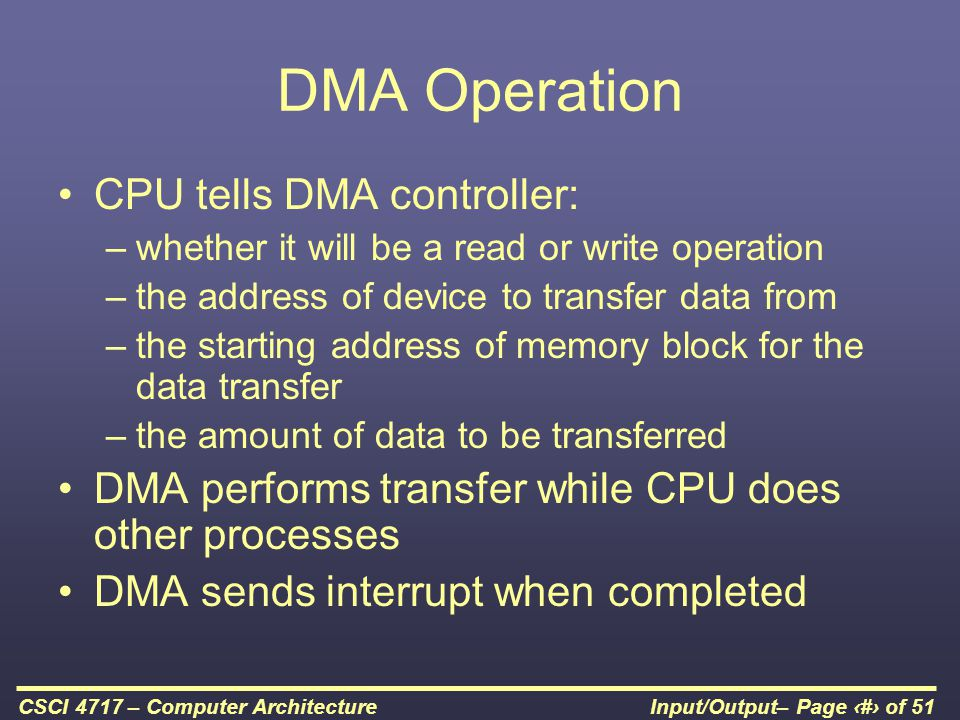 DMA Operation CPU tells DMA controller: