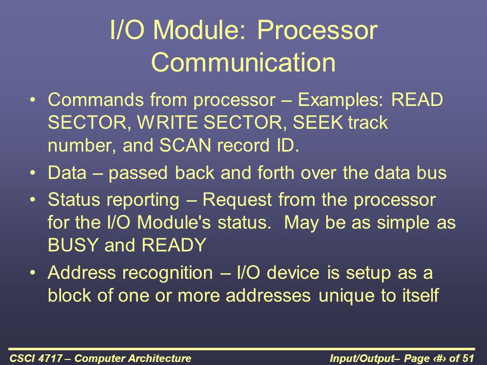 I/O Module: Processor Communication