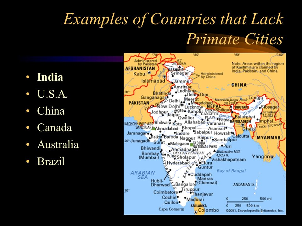 Examples of Countries that Lack Primate Cities