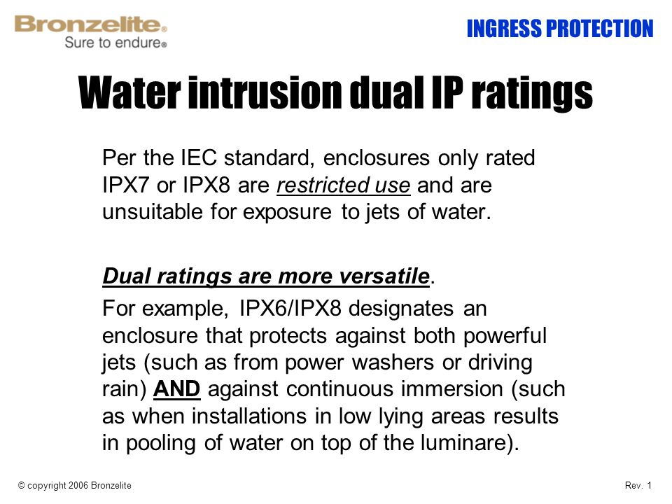 Water intrusion dual IP ratings