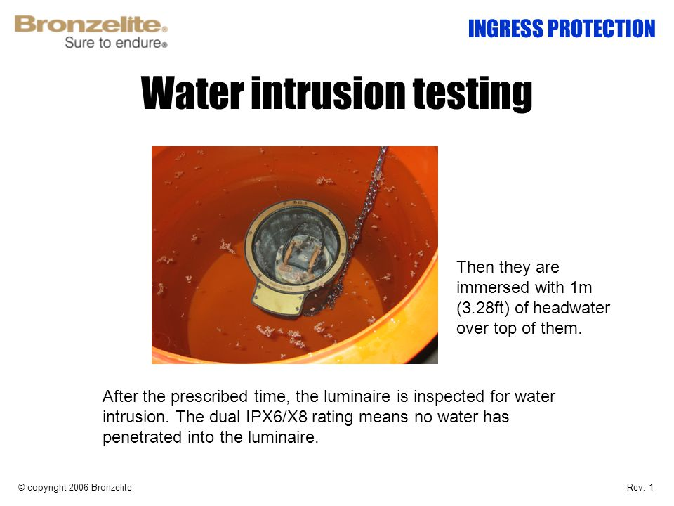 Water intrusion testing