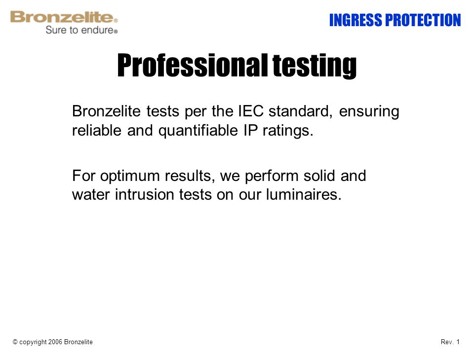 Professional testing INGRESS PROTECTION