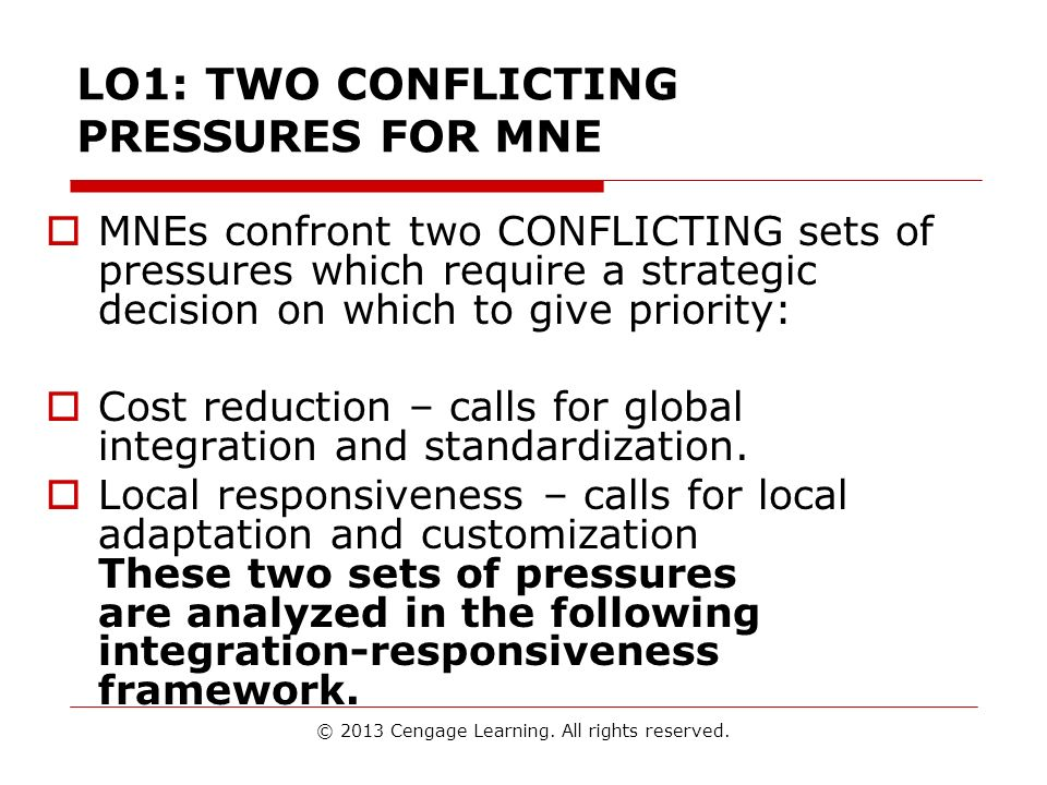 LO1: TWO CONFLICTING PRESSURES FOR MNE