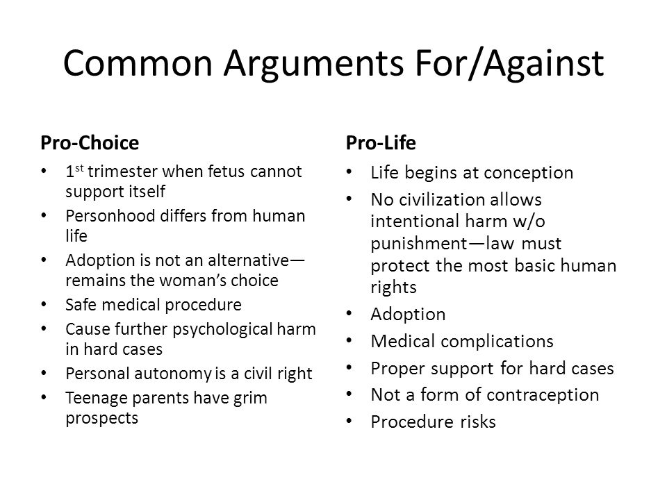 Common Arguments For/Against