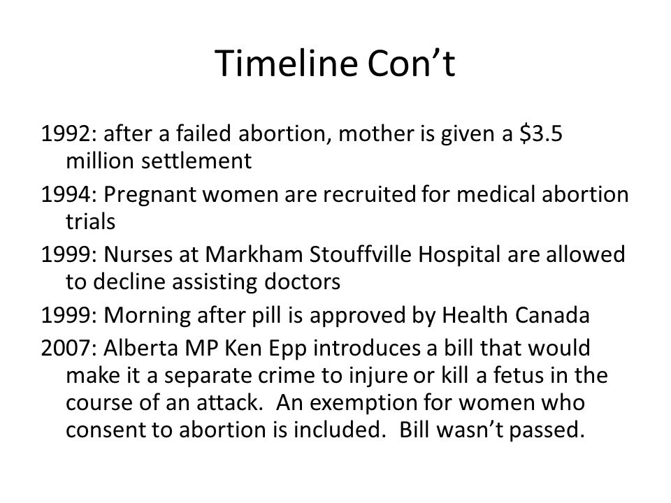 Timeline Con't 1992: after a failed abortion, mother is given a $3.5 million settlement.