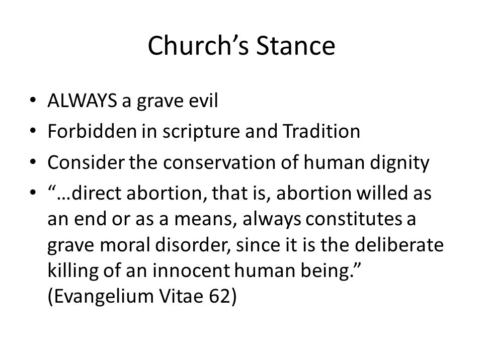 Church's Stance ALWAYS a grave evil