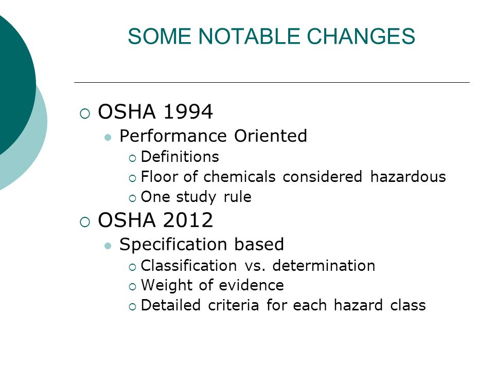 SOME NOTABLE CHANGES OSHA 1994 OSHA 2012 Performance Oriented