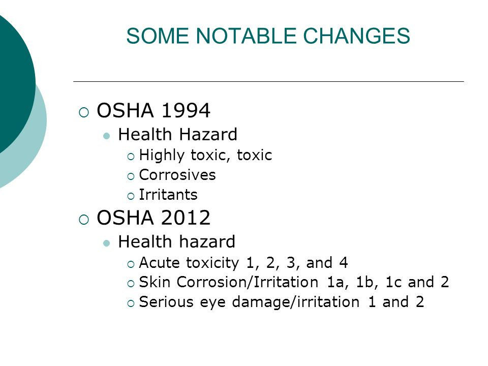 SOME NOTABLE CHANGES OSHA 1994 OSHA 2012 Health Hazard Health hazard