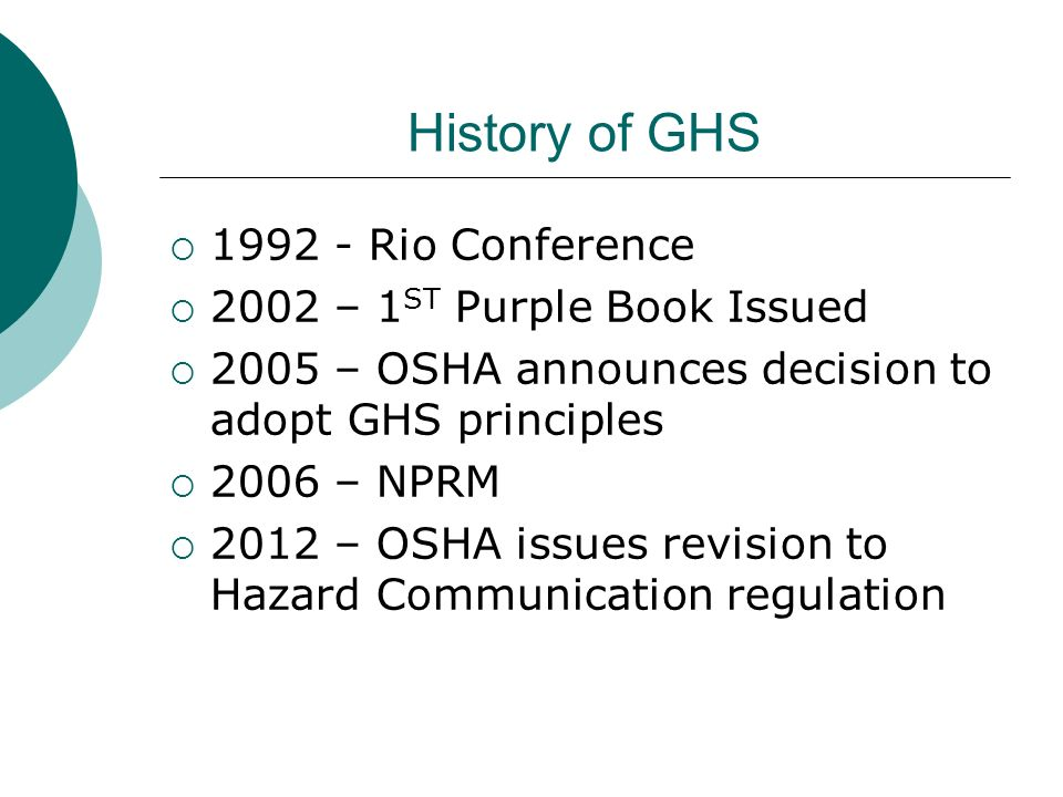History of GHS 1992 - Rio Conference 2002 – 1ST Purple Book Issued