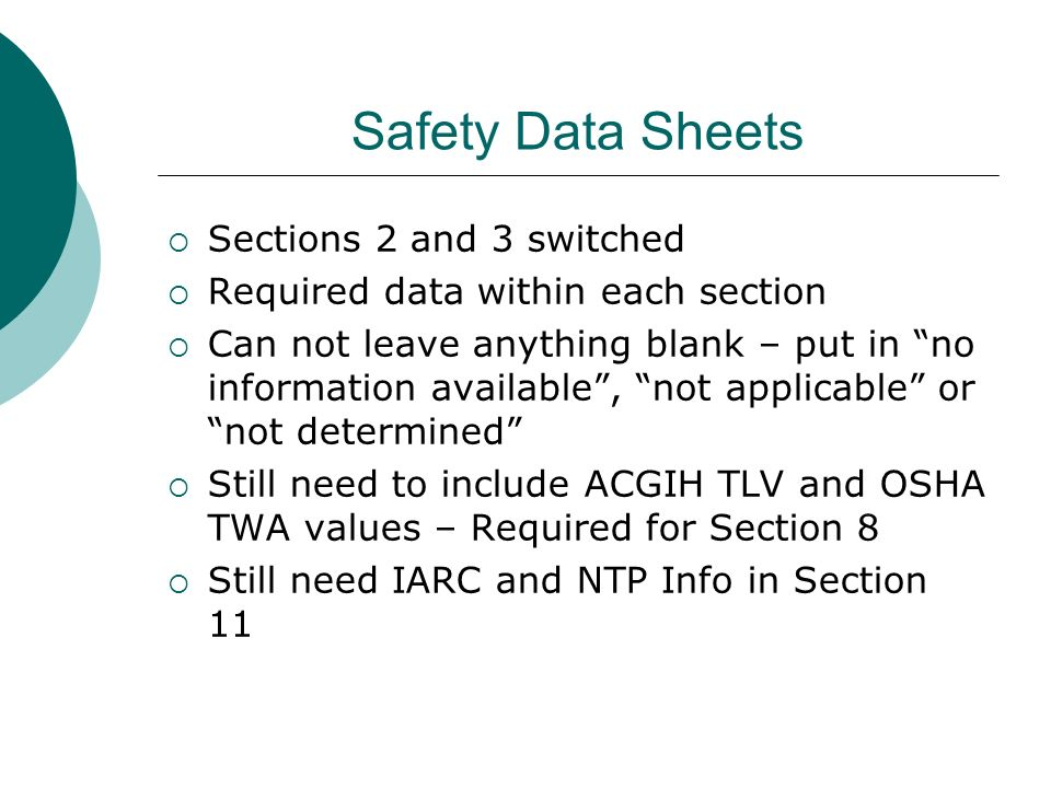 Safety Data Sheets Sections 2 and 3 switched