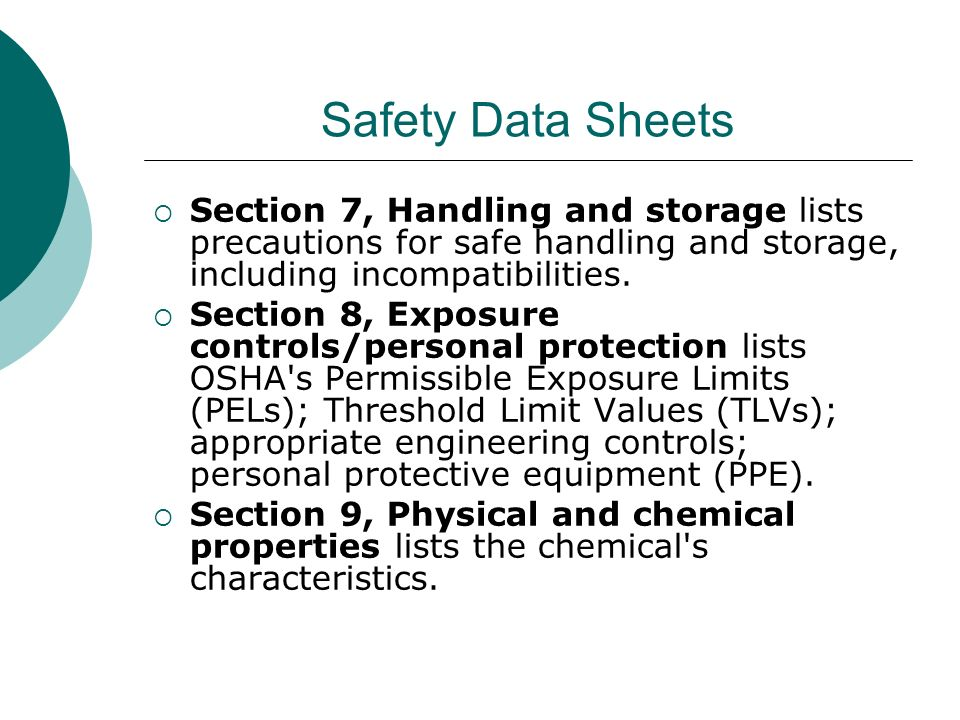 Safety Data Sheets Section 7, Handling and storage lists precautions for safe handling and storage, including incompatibilities.