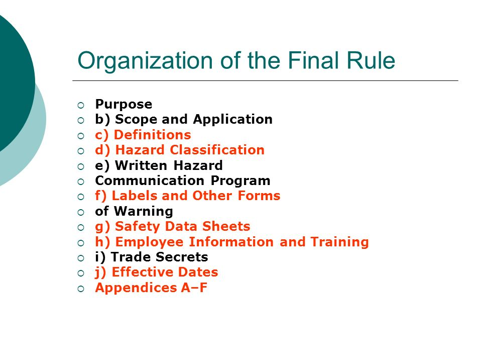 Organization of the Final Rule