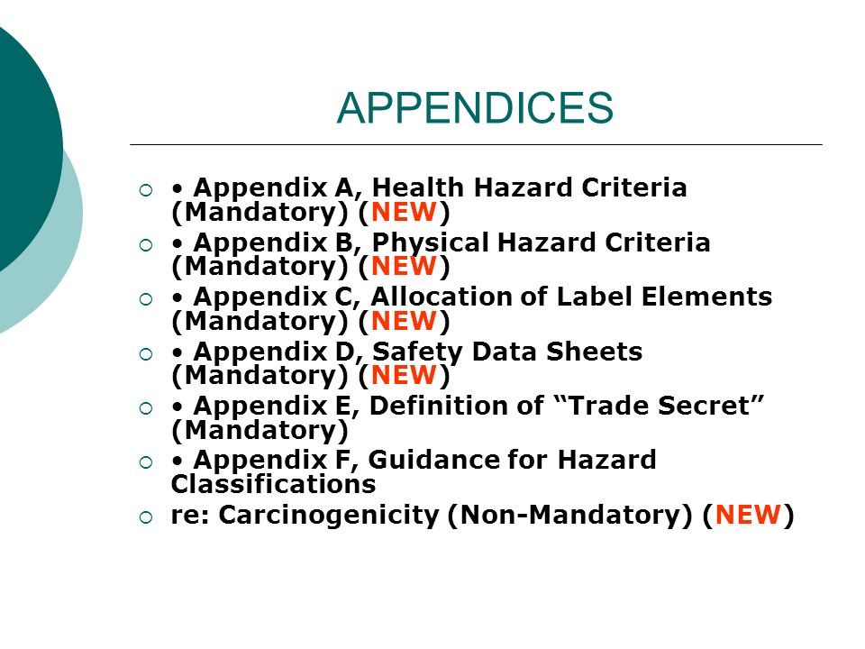 APPENDICES • Appendix A, Health Hazard Criteria (Mandatory) (NEW)